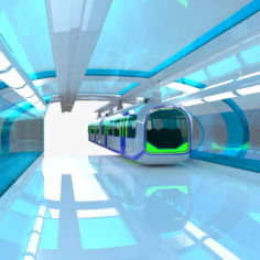 Monorail train with station 3D Model
