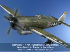 Republic P-47D Thunderbolt – Miss Mutt II 3D Model