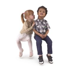 Sitting Girl and Boy 3D Model