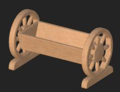 Cartoon wooden flowerpot 3D Model