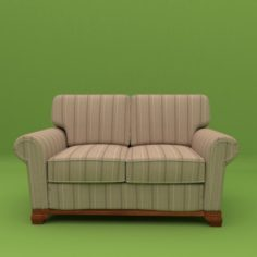 Couch 2 seats – Model English Sillon 2 cuerpos Modelo Ingles 3D Model