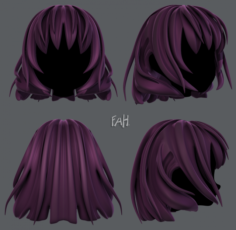 3D Hair style for girl V21 3D Model