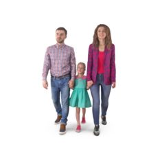 Family Walking 3D Model