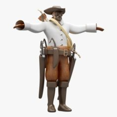 Pirate Not Rigged Lowpoly-Highpoly 3D Model