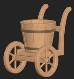 Cartoon wooden bucket on wheels 3D Model