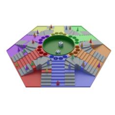 Parchis of 6 seats 3D Model