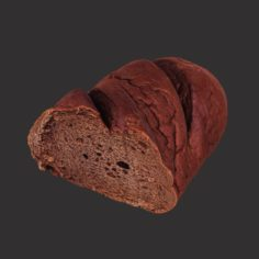 Brown Loaf of Bread Cut 3D Model