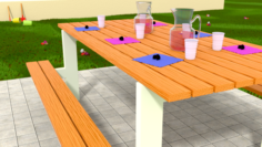 Easter family table with chocolate eggs 3D Model
