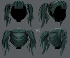 3D Hair style for girl V25 3D Model
