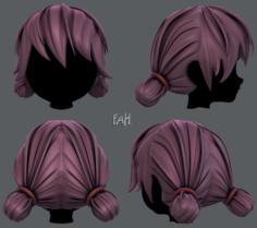 3D Hair style for girl V22 3D Model