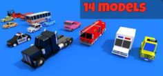 Low poly Cars pack 3D Model