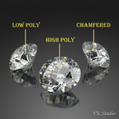 Round Diamond Brilliant Faceting Ideal Cut 3D Model