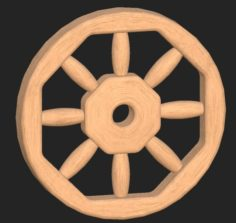 Cartoon wooden wheel 3D Model