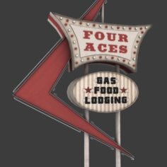 Four Aces Movie Set Sign 3D Model