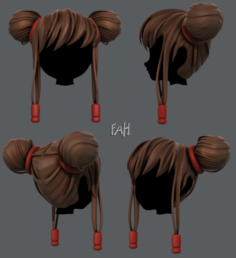 3D Hair style for girl V29 3D Model