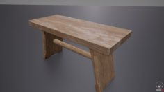 Small Wooden Bench 3D Model