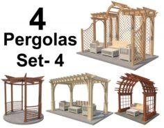 4 Pergolas Set 4 3D Model