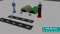 Low Poly Airport 3D Model