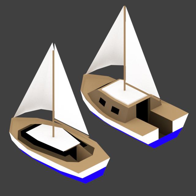 Medium Size Sailing Boats 3D Model