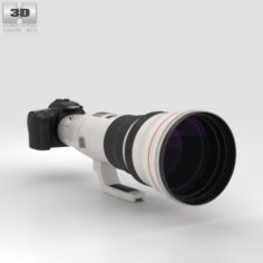 Canon EOS 70D with EF 800mm F-5L IS USM 3D Model