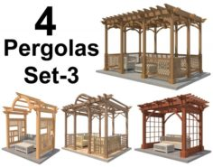 4 Pergolas Set 3 3D Model