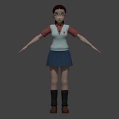 Anime School Girl 3D Model