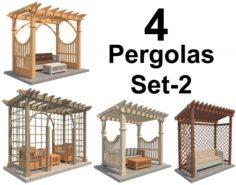 4 Pergolas Set 2 3D Model
