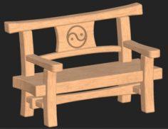 Cartoon wooden bench 10 3D Model