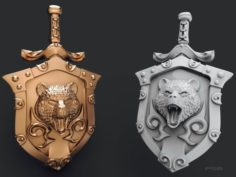 Pendant shield with bear 3D Model