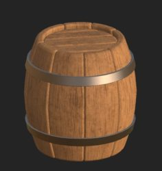 Cartoon wooden barrel 2 3D Model
