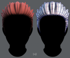 3D Hair style for Man V05 3D Model