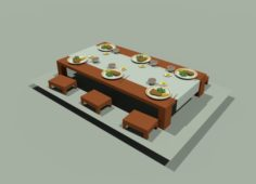 Japanese lunch table low poly 3D Model