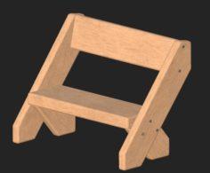 Cartoon wooden bench 4 3D Model