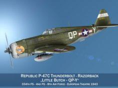 Republic P-47C Thunderbolt – Little Butch 3D Model