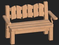 Cartoon wooden bench 8 3D Model