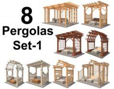 8 Pergolas Set 1 3D Model