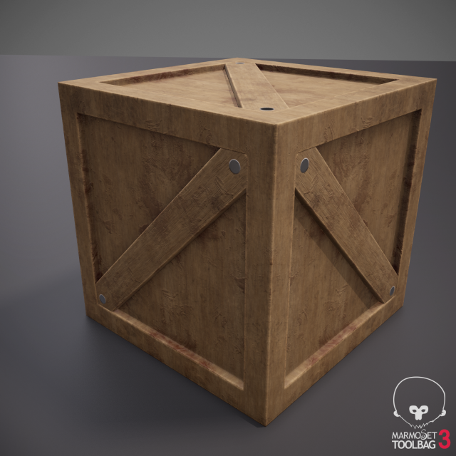 Rustic Wooden Crate Box 3D Model