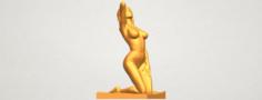 Naked girl – Bended Knees 03 3D Model