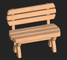 Cartoon wooden bench 3 3D Model