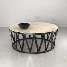 Bassett Travertine Drum Round Cocktail Table with cocktail glass 3D Model
