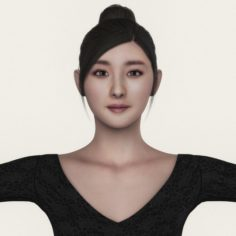 Realistic Beautiful Asian Girl 3D Model