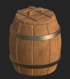 Cartoon wooden barrel 1 3D Model