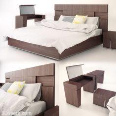 Double Bed 3D Model Cinema 4D-Vray