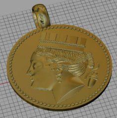 Coin pendant virgo 3D Model