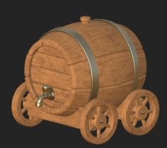 Cartoon wooden barrel 3 3D Model