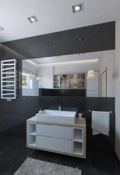 Outstanding shower room with black marble tiles 3D Model