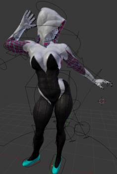 SPIDER GWEN rigging 3D Model