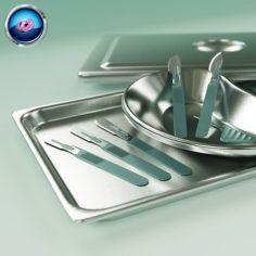 3D Scalpels Kidney Dish and Sterilization Tray model 3D Model