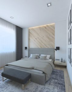 Cozy bedroom with wooden wall 3D Model