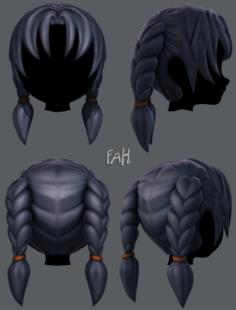3D Hair style for girl V18 3D Model